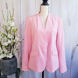 NY&CO Collarless Pink Blazer Suit Jacket Size 10